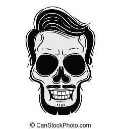 Beard Men Face with Skull Tattoo Illustration