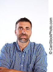 beard mid age man portrait on white background