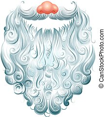 Beard, mustache and red nose Santa Claus mask. Christmas...