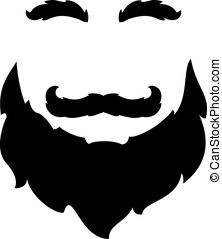 Black silhouette shapes of big beard with mustache and eyebrows, isolated