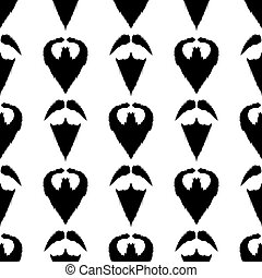 Beard Mustache Silhouette Seamless Background