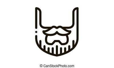 Beard Mustache Whisker Icon Animation. black Beard Mustache Whisker animated icon on white background