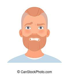 beard., peur, vecteur, illustration., figure, homme