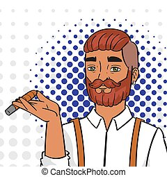 beard., pop, fumer, commercer, worker., homme, vecteur, illustration., art, gens, satisfaction., comique, bon, réussi, content, igar