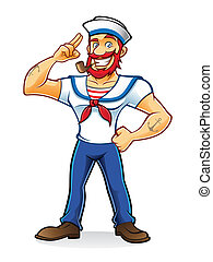 Beard Sailor - bearded sailor with a pipe in his mouth stand...