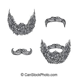 beard set - Beard set, line art illustration, hand drawn