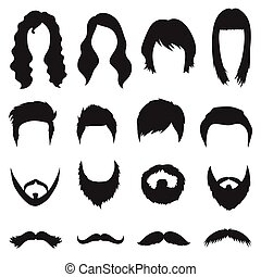Beard set icons in black style. Big collection beard vector symbol stock illustration