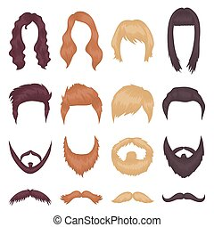 Beard set icons in cartoon style. Big collection of beard vector illustration symbol.