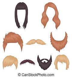Beard set icons in cartoon style. Big collection of beard vector symbol stock illustration