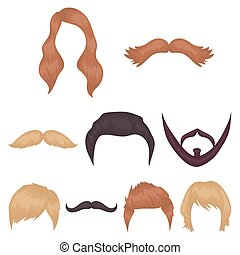 Beard set icons in cartoon style. Big collection of beard vector symbol stock illustration