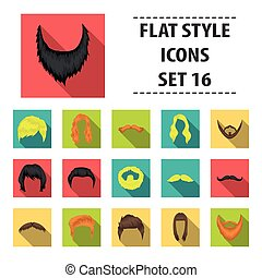 Beard set icons in flat style. Big collection beard vector symbol stock illustration