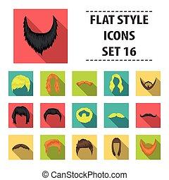 Beard set icons in flat style. Big collection beard vector symbol stock illustration