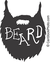 Beard with Text isolated on white background Vector