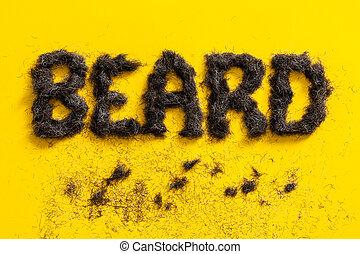Beard word made of real beard trimmings