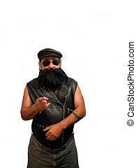Bearded Biker pointing