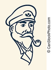 Bearded boat captain smoking pipe i - Vintage illustration...