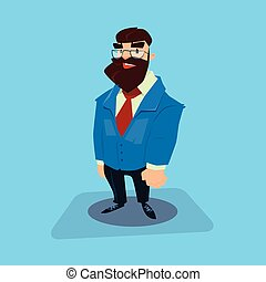 Bearded Business Man Cartoon Character Businessman Full...