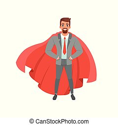 Bearded business man in gray suit, shirt, red tie and superhero mantle. Male character standing with hands in pockets. Successful office worker. Flat vector design