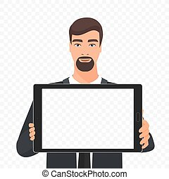Bearded businessman showing the empty tablet pc screen vector illustration. Tablet alpha transperant background.