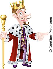 Bearded Cartoon King - Snooty King cartoon character wearing...