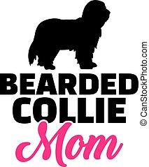 Bearded Collie mom silhouette - Bearded Collie dog mom...