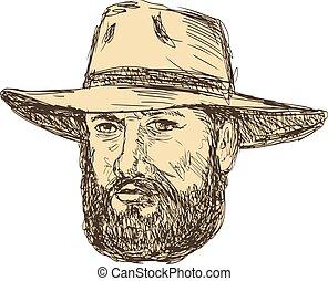 Bearded Cowboy Head Drawing