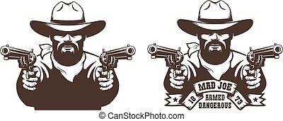 Bearded Cowboy wild west gunfighter tattoo. Western bandit ...