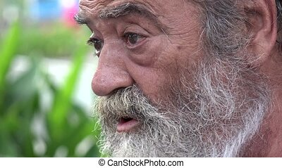 Bearded Elderly Man Talking
