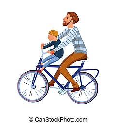 Bearded father with son riding on the bicycle. Vector illustration in flat cartoon style.