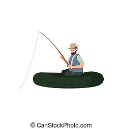 Bearded Fisherman Catching Fish with Fishing Rod, Male Fisher Character Sitting on Inflatable Boat Vector Illustration