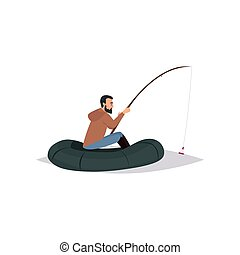 Bearded Fisherman with Fishing Rod, Male Fisher Character Sitting on Inflatable Boat Vector Illustratio