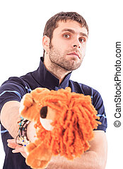 Bearded Guy Holds Soft Animal Lion Toy Crosses Arms