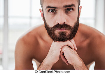 Bearded handsome. Confident young bearded and shirtless man looking at camera and holding hands on chin