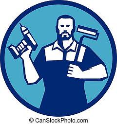 Bearded Handyman Cordless Drill Paintroller Circle Retro -...