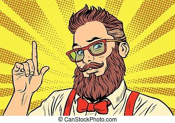 Bearded hipster man portrait pointing finger. Pop art retro...