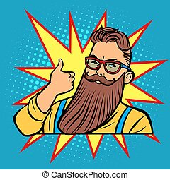 bearded hipster thumb up gesture