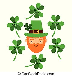bearded leprechaun face with green clovers falling