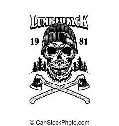 Bearded lumber skull vector illustration