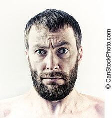 bearded man - bearded wide eyes man portrait