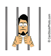 man with beard behind jail house bars looking depressed