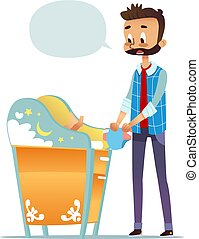 Bearded man changing diaper of newborn baby. Dad taking care of child and blank speech bubble isolated on white background. Concept of young inexperienced father. Flat cartoon vector illustration.