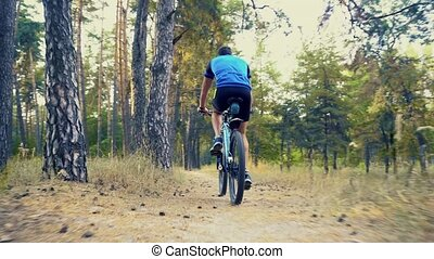 bearded man cyclist rides in the forest on a mountain bike...