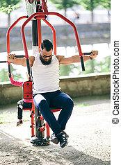 bearded man doing exercises
