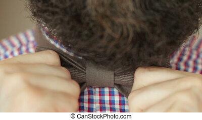 Bearded man dress bow tie - Bearded man in a plaid shirt...