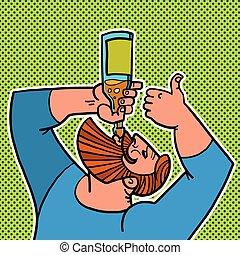 bearded man drinking a bottle of water