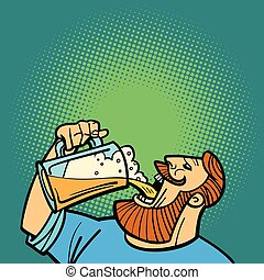 Bearded man drinking a mug of beer
