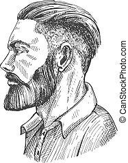 Bearded man face in profile portrait