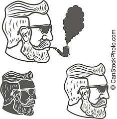 Bearded man head with smoking pipe isolated on white background.