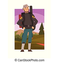 Bearded Man Hiking with Backpack, Male Traveller in Summer Mountain Landscape, Outdoor Activity, Travel, Camping, Backpacking Trip or Expedition Vector Illustration