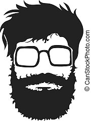 Bearded man silhouette illustration with long hair.